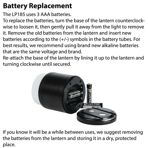 LUXPRO LP185 Lantern Battery Replacement