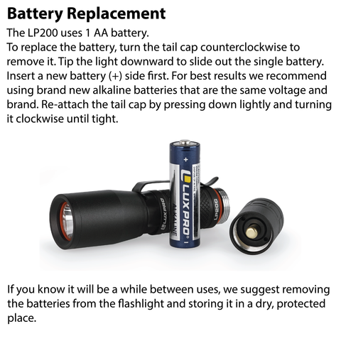 LUXPRO LP200C Flashlight Battery Replacement Instructions