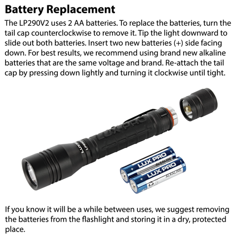 LUXPRO LP290V2 Flashlight Battery Replacement Instructions