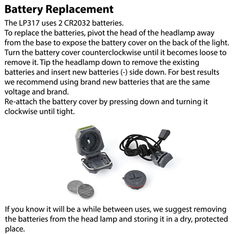 LUXPRO LP317 Headlamp Battery Replacement Instructions