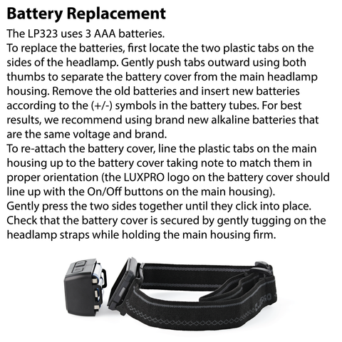 LUXPRO LP323 Headlamp Battery Replacement Instructions