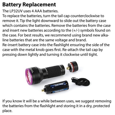 LUXPRO LP32UV Flashlight Battery Replacement Instructions