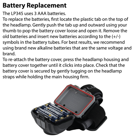 LUXPRO LP345 Battery Replacement Instructions