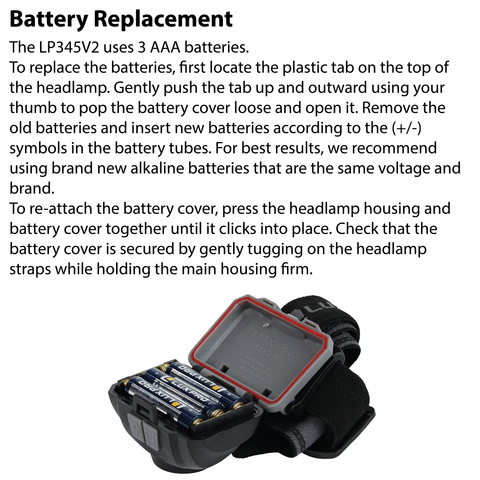 LUXPRO LP345V2 Headlamp Battery Replacement Instructions