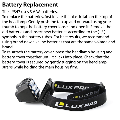 LUXPRO LP347 Headlamp Battery Replacement Instructions