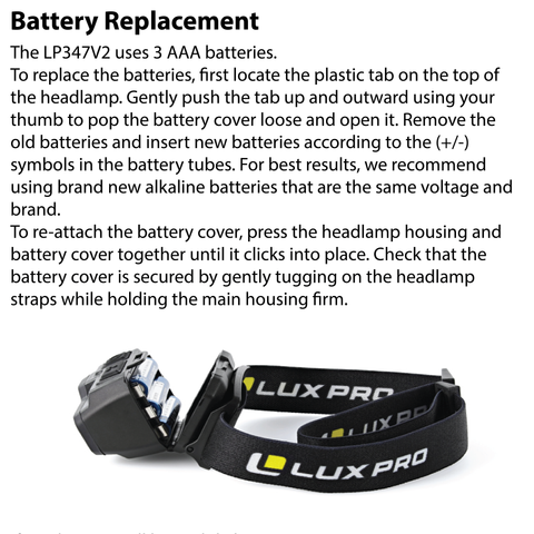 LUXPRO LP347V2 Headlamp Battery Replacement Instructions