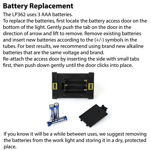 LUXPRO LP362 Work Light Battery Replacement Instructions