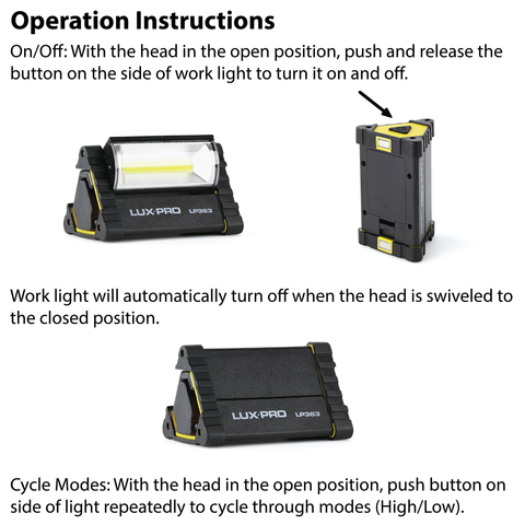 LUXPRO LP362 Work Light Operation Instructions