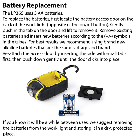 LUXPRO LP366 Work Light Battery Replacement Instructions