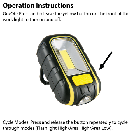 LUXPRO LP366 Work Light Operation Instructions