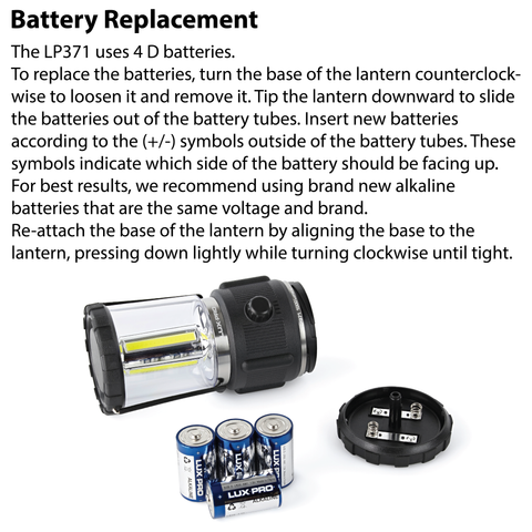 LUXPRO LP371 Lantern Battery Replacement Instructions