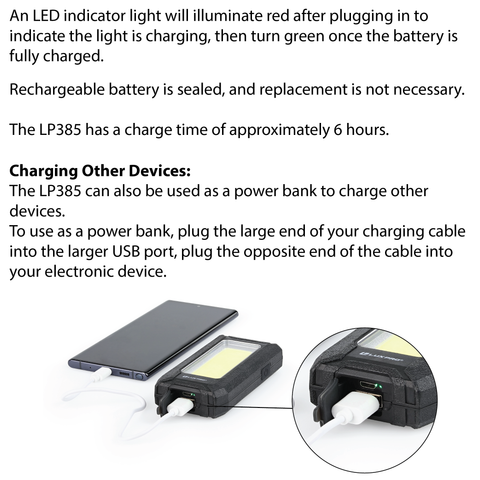 LUXPRO LP385 Work Light Charging Instructions