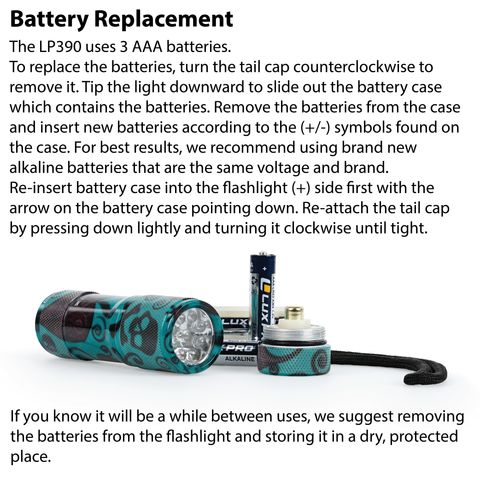LUXPR LP390 Flashlight Battery Replacement Instructions