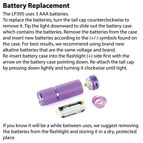 LUXPRO LP395 Flashlight Battery Replacement Instructions