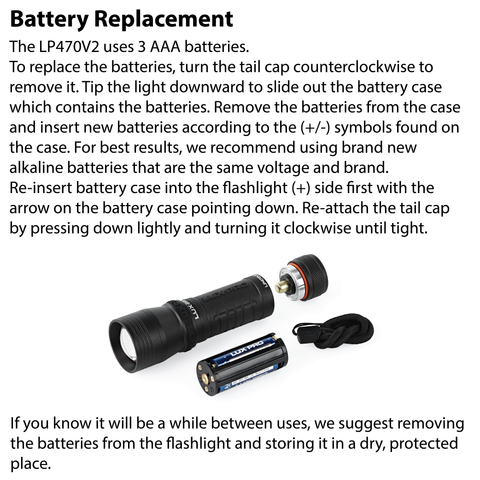 LUXPRO LP470V2 Flashlight Battery Replacement Instructions