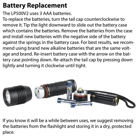 LUXPRO LP500V2 Flashlight Battery Replacement Instructions