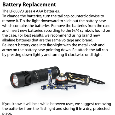 LUXPRO LP600V3 Flashlight Battery Replacement Instructions