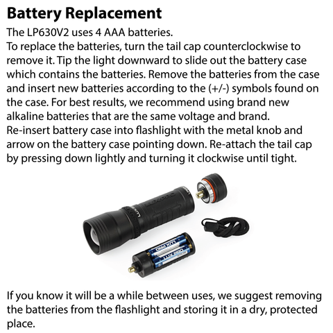 LUXPRO LP630V2 Flashlight Battery Replacement Instructions