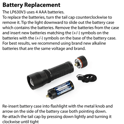 LUXPRO LP630V3 Flashlight Battery Replacement Instructions