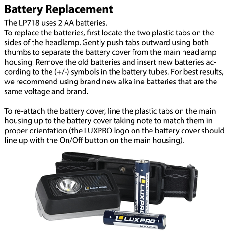 LUXPRO LP718 Headlamp Battery Replacement Instructions