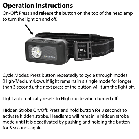 LUXPRO LP718 Headlamp Operation Instructions