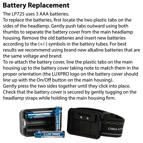 LUXPRO LP725 Headlamp Battery Replacement Instructions
