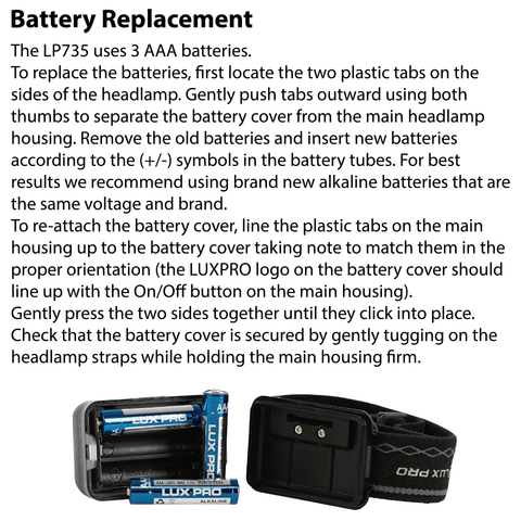 LUXPRO LP735 Headlamp Battery Replacement Instructions