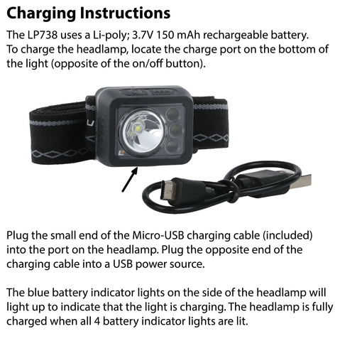 LUXPRO LP738 Headlamp Charging Instructions