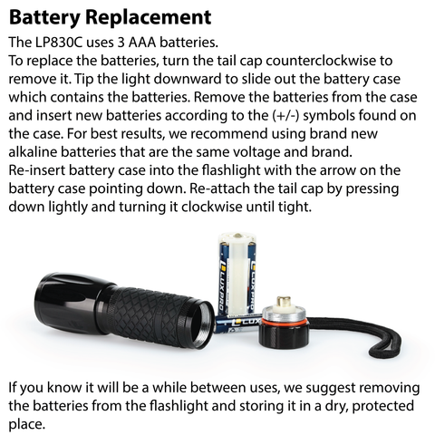 LUXPRO LP830C Flashlight Battery Replacement Instructions