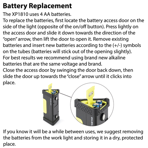 LUXPRO XP1810 Work Light Battery Replacement Instructions