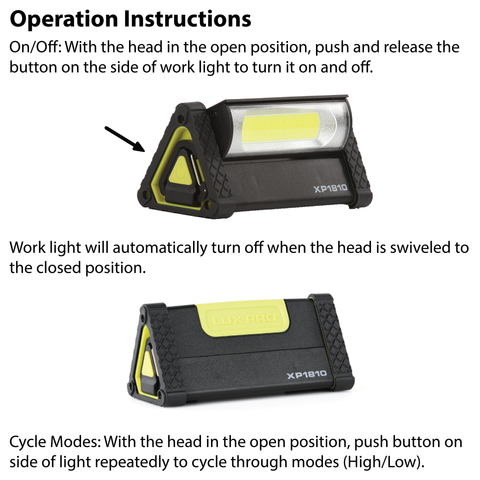 LUXPRO XP1810 Work Light Operation Instructions