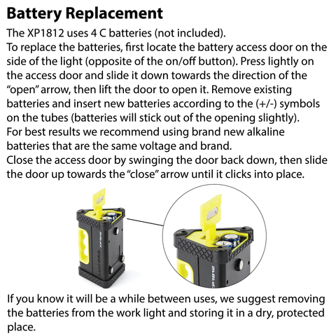 LUXPRO XP1812 Work Light Battery Replacement Instructions