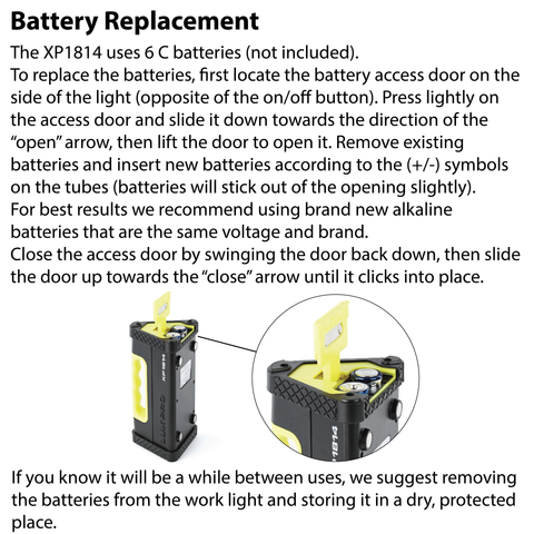 LUXPRO XP1814 Work Light Battery Replacement Instructions