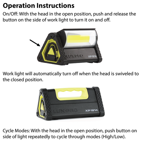LUXPRO XP1814 Work Light Operation Instructions