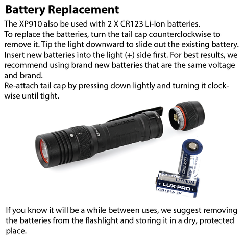 LUXPRO XP910 Flashlight Battery Replacement Instructions