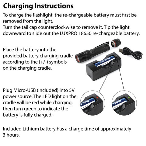 LUXPRO XP910 Flashlight Charging Instructions