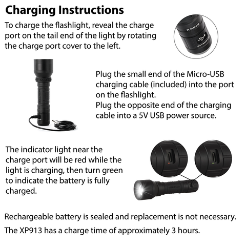 LUXPRO XP913 Flashlight Charging Instructions