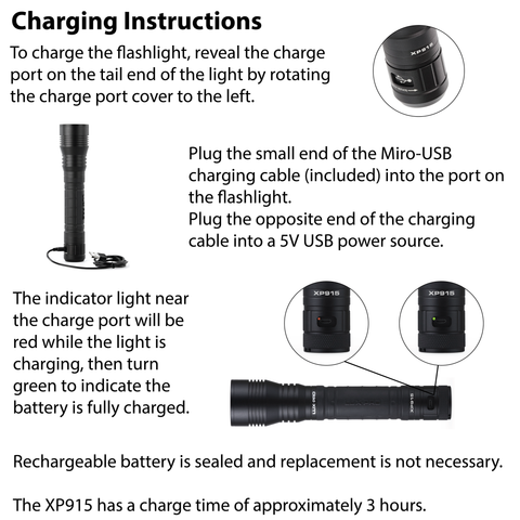 LUXPRO XP915 Flashlight Charging Instructions