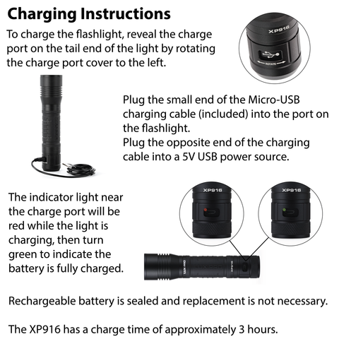LUXPRO XP916 Flashlight Charging Instructions