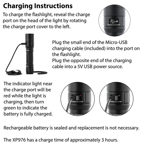 LUXPRO XP976 Flashlight Charging Instructions