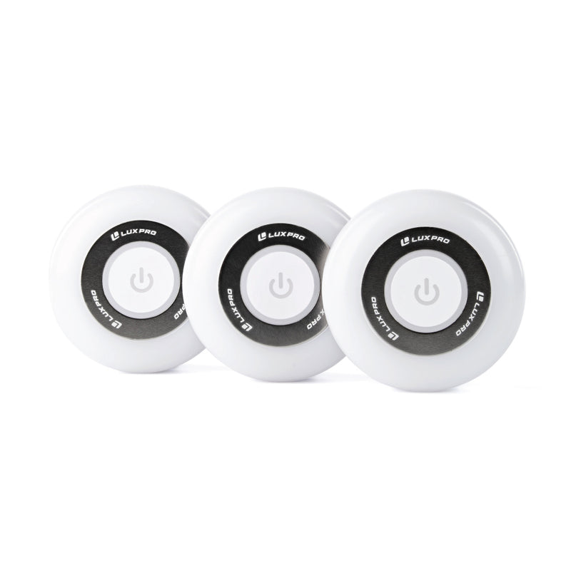 Diffused Lens Adhesive Puck Lights, 3 Pack