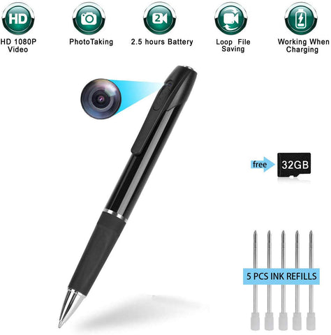 Hidden Pen Camera - HD 1080P - 32GB - 2.5 Hours Battery Life