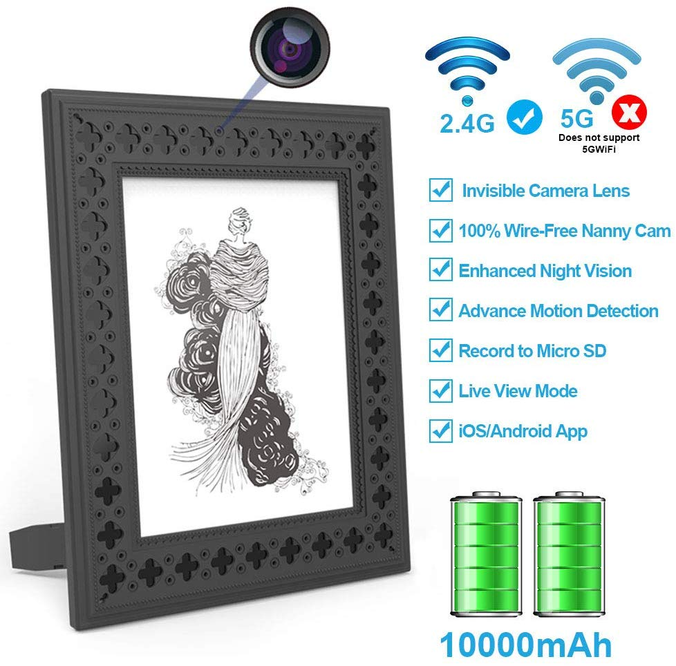 Photo Frame HD Hidden Camera with Night Vision - Easy WiFi Setup - Up to 365 Days Standby Rechargeable Battery Life