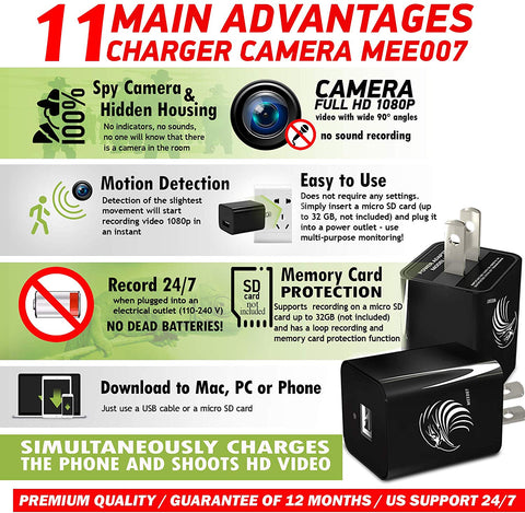 USD Charger Hidden Camera - 1080P Full HD - Black