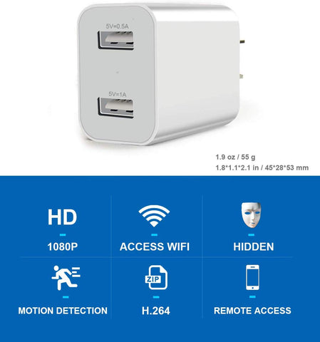 USD Charger Hidden Camera - 1080P Full HD - White