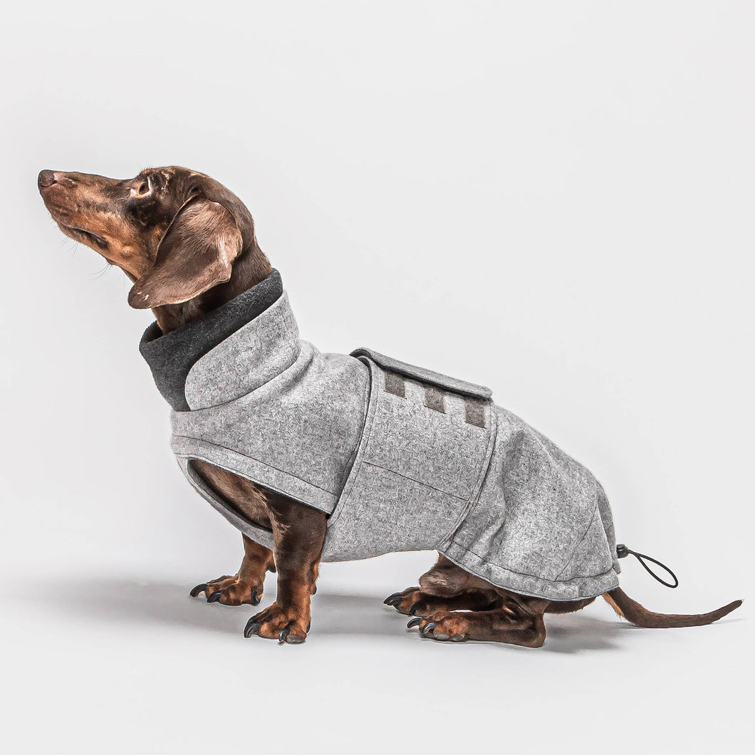 Hundemantel Brooklyn Dackel Flanell Grey