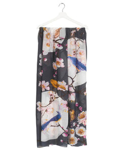 Blossom & Birds Scarf Charcoal