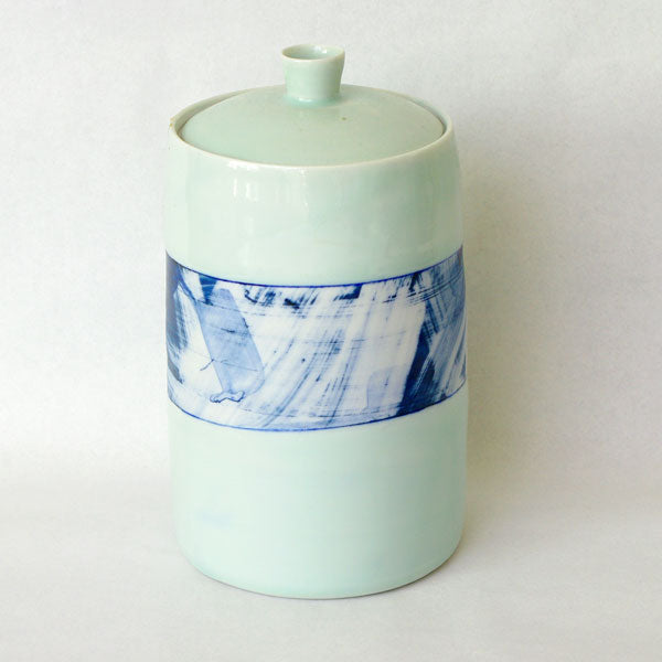 Tall Lidded Jar Blue Wash