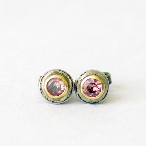 Silver Stud Earrings with Pink Tourmaline