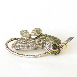 Oxidised Silver Brooch with Blue topaz